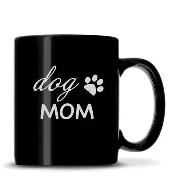 "Black Coffee Mug with ""Dog Mom"" Design, Deep Etched"