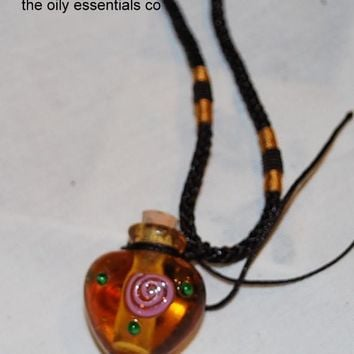 The Oily Essentials Jewely- Italian Murano Heart Shaped Glass Handpainted Necklace