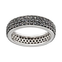 Sophie Miller Cubic Zirconia Sterling Silver Ring (Black)
