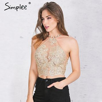 Simplee Elegant white lace crop top Summer beach backless short halter tops white party camis gauze metallic women tank top