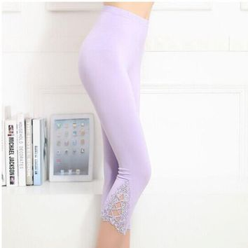 Women Hollow Out Leggings Elastic Triangle Lace Stretch Pants Thin Leggings 6 Colors