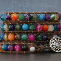 colorful beaded leather wrap bracelet- multicolor agate on chocolate brown leather - rainbow bracelet - boho bohemian western gypsy jewelry