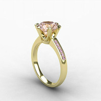 2.20ct Morganite ring, pink Diamond, Yellow gold, Engagement ring, Solitaire, Pink, Diamond engagement, micro pave, unique, vintage style