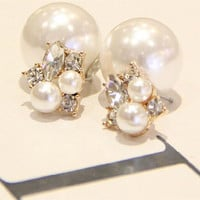 1pair Fashion Trendy Double Sides Pearl Earring Two Ball Stud Earrings For Girls Crystal Jewelry Free Shipping