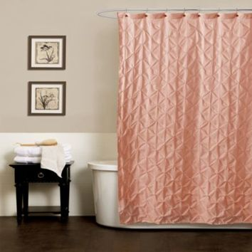 Noelle Pintuck Shower Curtains in Peach
