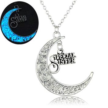 Vintage Special Sister Letter Luminous Necklace Glow In The Dark Pendant Charm Moon Choker Necklace Foe Best Friends Gift