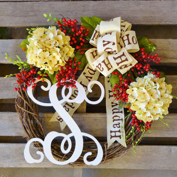 Christmas Wreath,Monogram Wreath,Grapevine Wreath, Hydrangea Wreath, Vine Monogram,Happy Holidays, Door Hanger, Holiday Wreath