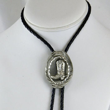Bolo Tie Pewter Cowboy Boot - Eagle Border -Black Braided Leatherette - Unisex - Vintage Cowboy Cowgirl Fashion