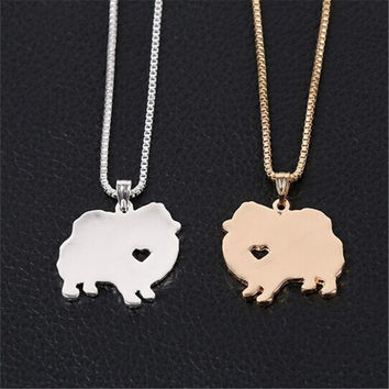 Drop Shipping 1pcs Cute Pomeranian Dog Necklace in Gold and Silver Tiny Pet Pomeranian Engagement Gift Idea XL-021