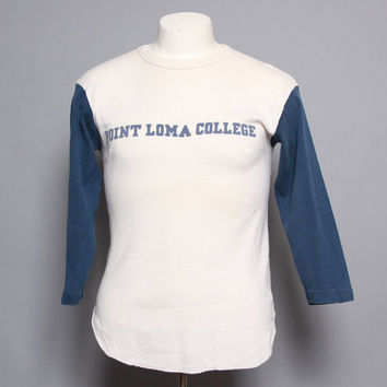 70s CHAMPION Blue Bar T-SHIRT / Point Loma College Jersey Tee, M