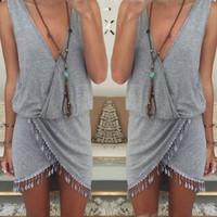 Celeb Women Ladies Boho Summer Beach Sleeveless Party Evening Short Mini Dress