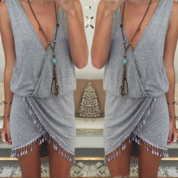 Celeb Women Ladies Boho Summer Beach Sleeveless Party Evening Short Mini Dress = 1932452932