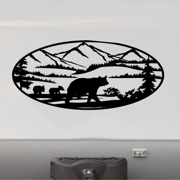 Mama Bear and Cubs Decal RV Camper Motor Home Sticker Mountain Scene