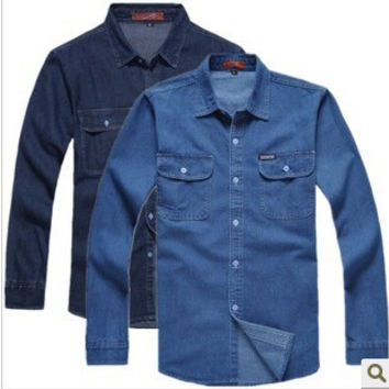 New 2016 men's denim long-sleeve shirt male plus size loose shirts denim workwear men jeans shirt for man TA1279