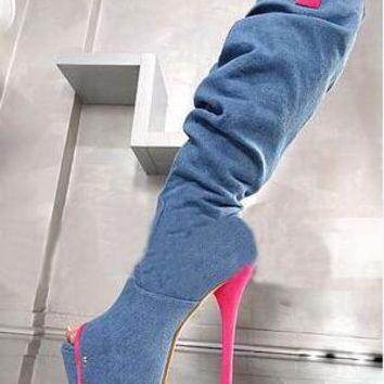 Peep Toe Waterproof Platform Over The Knee Boots Blue Rose Red Thin High Heels Shoes