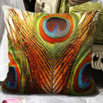 Modern decorative high quality Velvet  throw pillow cushion covers peacock feather double sides optional sizes