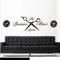Wall Vinyl Sticker Decals Decor Haircut Salon Hairdresser Fashion Business man Barber Sign Quote (z3084)