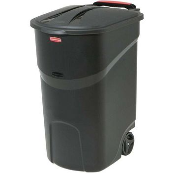 Rubbermaid Roughneck 45 Gal. Black Wheeled Trash Can with Lid