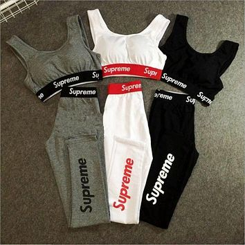 Supreme High Waist Cotton Sports Yoga Vest Pants Set Two-Piece Sportswear