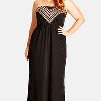 Plus Size Women's City Chic 'Inca' Embroidered Maxi Dress,