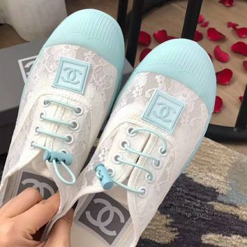 Chanel Trending Lace Shoes Cute Lace up Women Flat Leisure Shoes B-XBZZGNX Light Blue