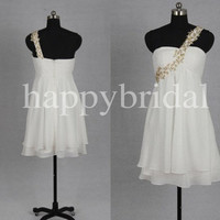 Short White One Shoulder Bridesmaid Dresses Beaded Prom Dresses Party Dresses Formal Evening Dresses 2014 Wedding Events