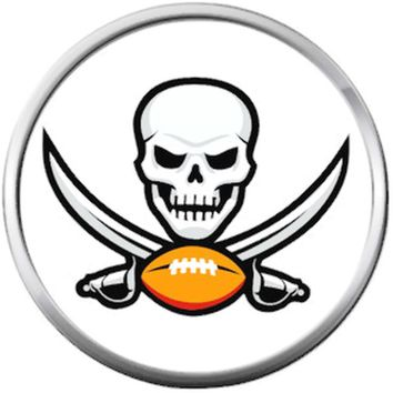 Tampa Bay Buccaneers NFL Logo Skull With Football And Sword Team Spirit 18MM - 20MM Snap Jewelry Charm