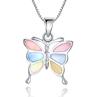 Sterling Silver Butterfly W. Multicolor Mother of Pearl Pendant Necklace