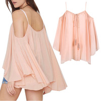 2015 NEW Women Summer Loose Batwing Sleeve Chiffon Off Shoulder Shirt Top Blouse