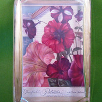 """Red Floral Decor """"Petunia on the Eastern Seaboard"""" Calender Painting Large Rectangle Glass Paperweight"""