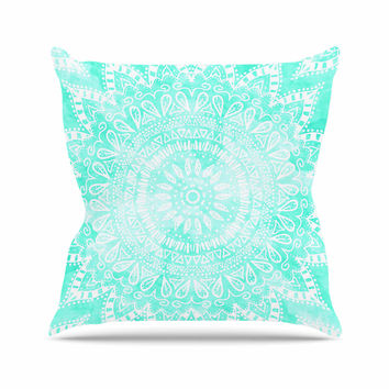 "Nika Martinez ""Boho Flower Mandala in Teal"" Aqua Green Outdoor Throw Pillow"