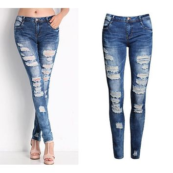 2045 New 2017 Hot Fashion Ladies Cotton Denim Pants Stretch Womens Bleach Ripped Skinny Jeans Denim Jeans For Female