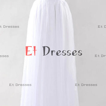White chiffon V neck and back style with crystal and sequins top  Prom Dress Formal Evening Dress Party Dress with sequins beads sash