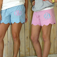 Women's pink, blue, and greenseersucker scalloped edge monogrammed shorts. lounge shorts for women. Bridesmaid gifts monogram. Embroidered.