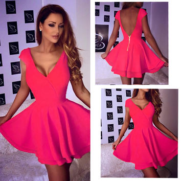 Pink Plunging Backless Skater Dress