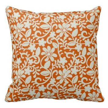 Classy Floral Damask Burnt Orange Pattern Throw Pillows