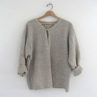 vintage oatmeal oversized wool sweater. pullover sweater / women's size large