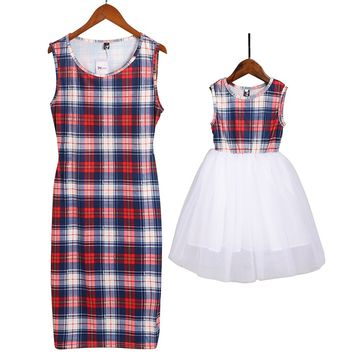 Mommy and Me Long Sleeve Plaid Tulle Dress Family Matching Clothes