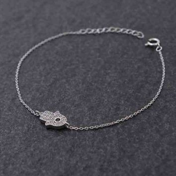 BEADY LUCKY HAMSA BRACELET - Silver Plated with Crystals