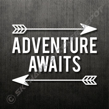 "Adventure Awaits Sticker Decal MacBook Pro Air 13"" 15"" 17"" Keyboard Keypad Mousepad Hiking Sticker Laptop Vintage Inspirational Text"