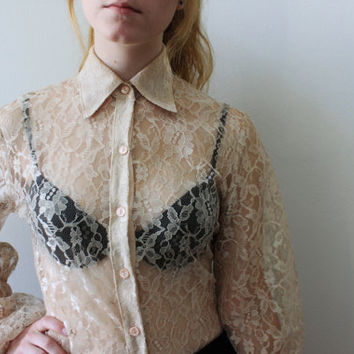 Beige Lace Bellsleeved Button Up