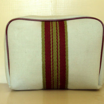 Fabric Clutch Bag Dopp Kit  Travel Bag makeup cosmetic unisex bag vintage 70s Clint Avon grey burgundy