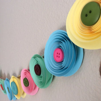 Button Garland paper flowers any color, baby shower, baby's room, cute as a button theme