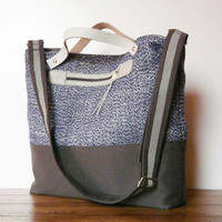 Tote Messenger Bag Diaper bag Blue Gray shoulderbag Leather hand strap MacBook Bag Handbag