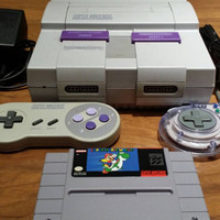 Super Nintendo game system console w 2 controllers & hook ups nes Super Mario World - Free Shipping snes