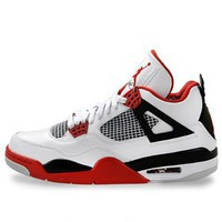 Amazon.com: Mens Nike Air Jordan Retro 4 Basketball Shoes White / Black / Varsity Red 308497-110: Shoes