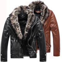 Teen Thick Slim Warm Leather Jacket Winter Fur Collar Velvet Padded Leather Coat New Men'S Fashion Motorcycle Leather Coat H2166