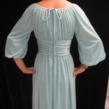 Vintage 70s Maxi DRESS Grecian Draped  GOWN Gypsy Boho Classical  Bust:36""