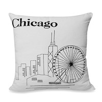 "Passport 18-Inch Square ""Chicago"" Postcard Toss Pillow"