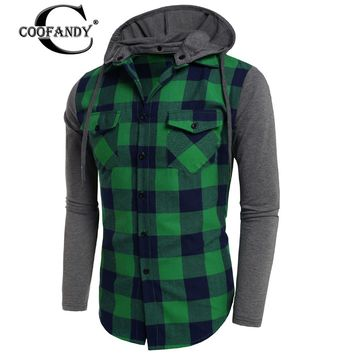 Mens Hooded Long Sleeve Plaid Patchwork Button Down Shirt